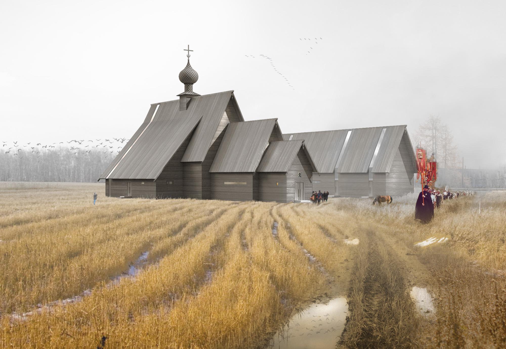 Храм на 600 человек. Перспектива. ©DMTRVK.RU
