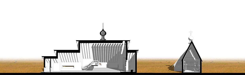 Храм на 600 человек. Разрез. ©DMTRVK.RU