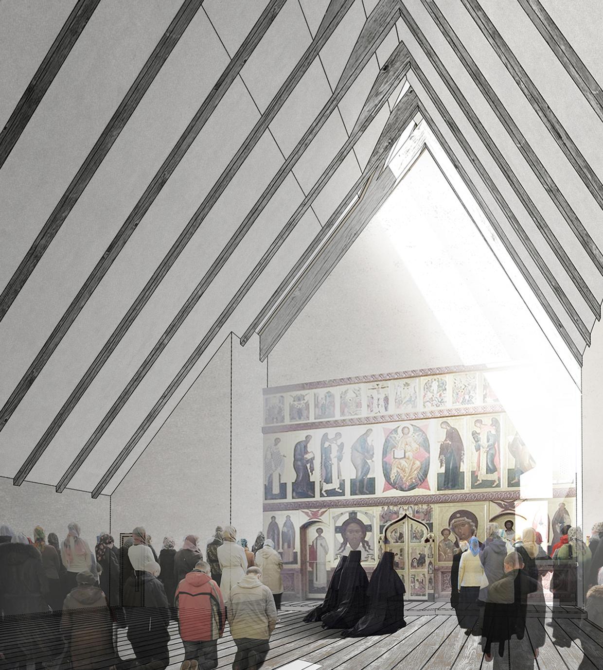 Храм на 600 человек. Перспектива интерьера. ©DMTRVK.RU