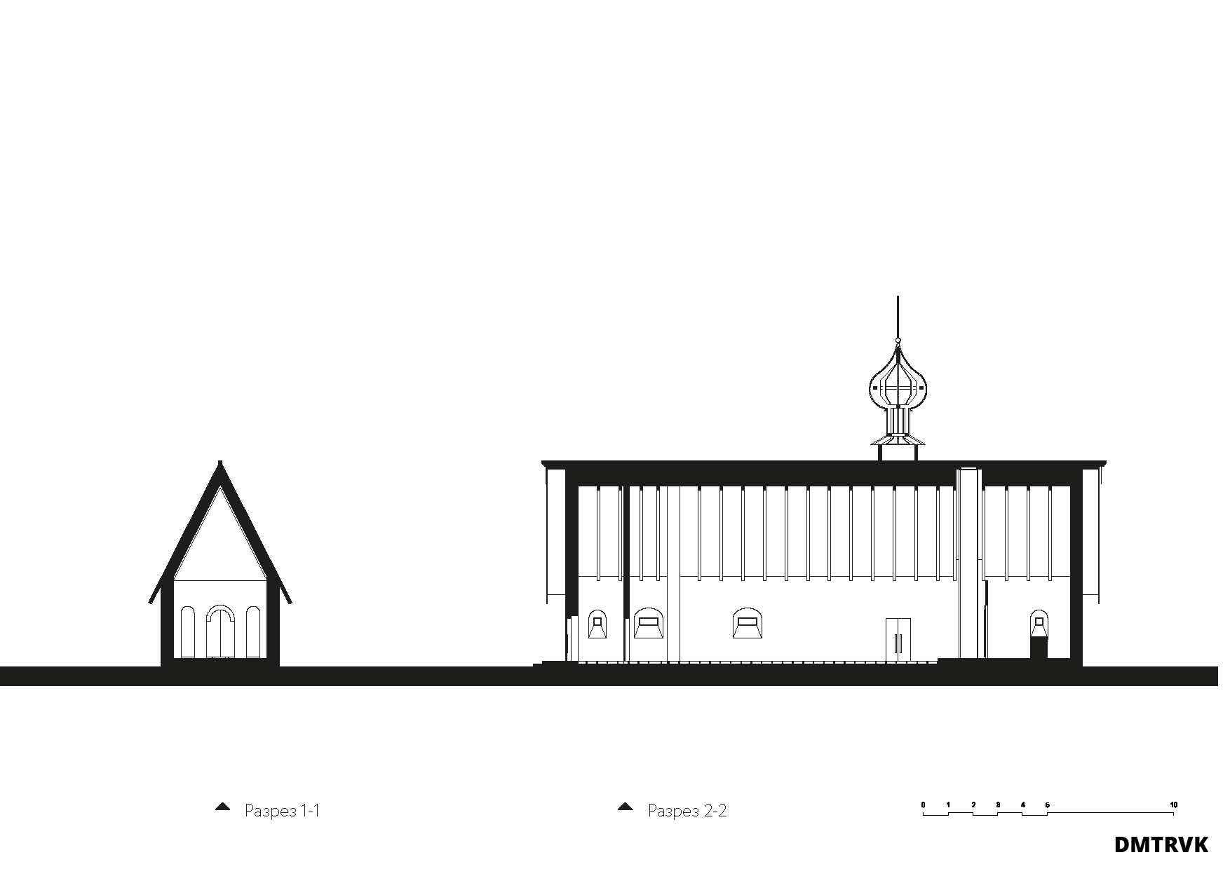 Концепция храма на 170 молящихся. Схема разрезов. ©DMTRVK.RU