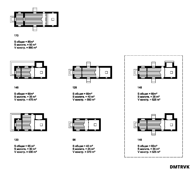 Концепция малых храмов. Варианты композиционных решений. Схема планов. ©DMTRVK