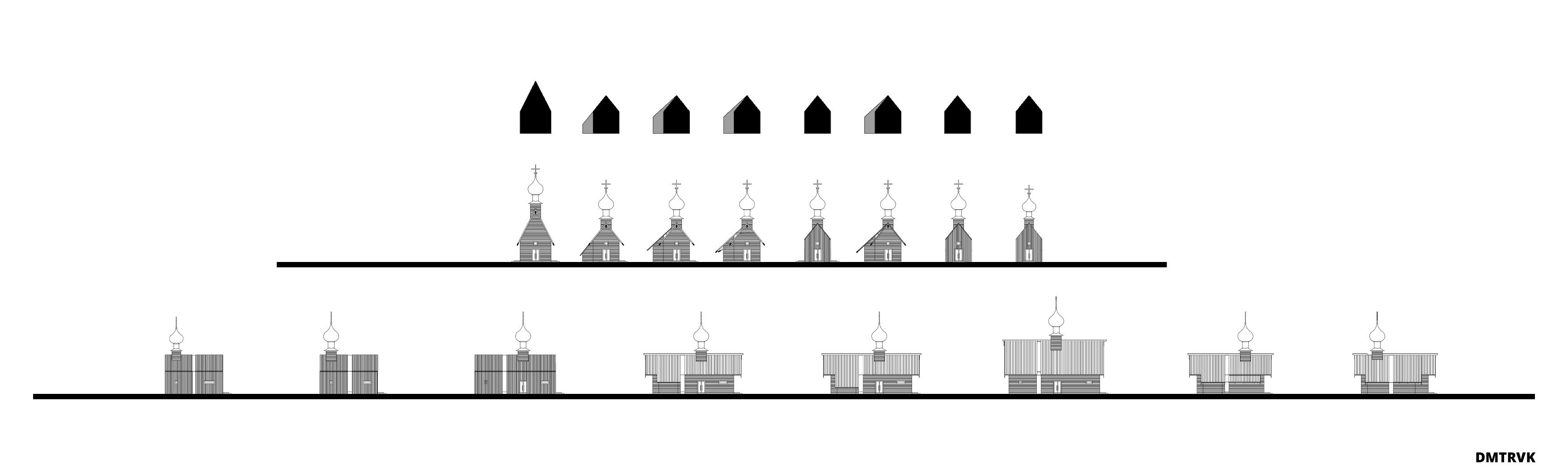 Концепция малых храмов. Варианты композиционных решений. Схема фасадов. ©DMTRVK