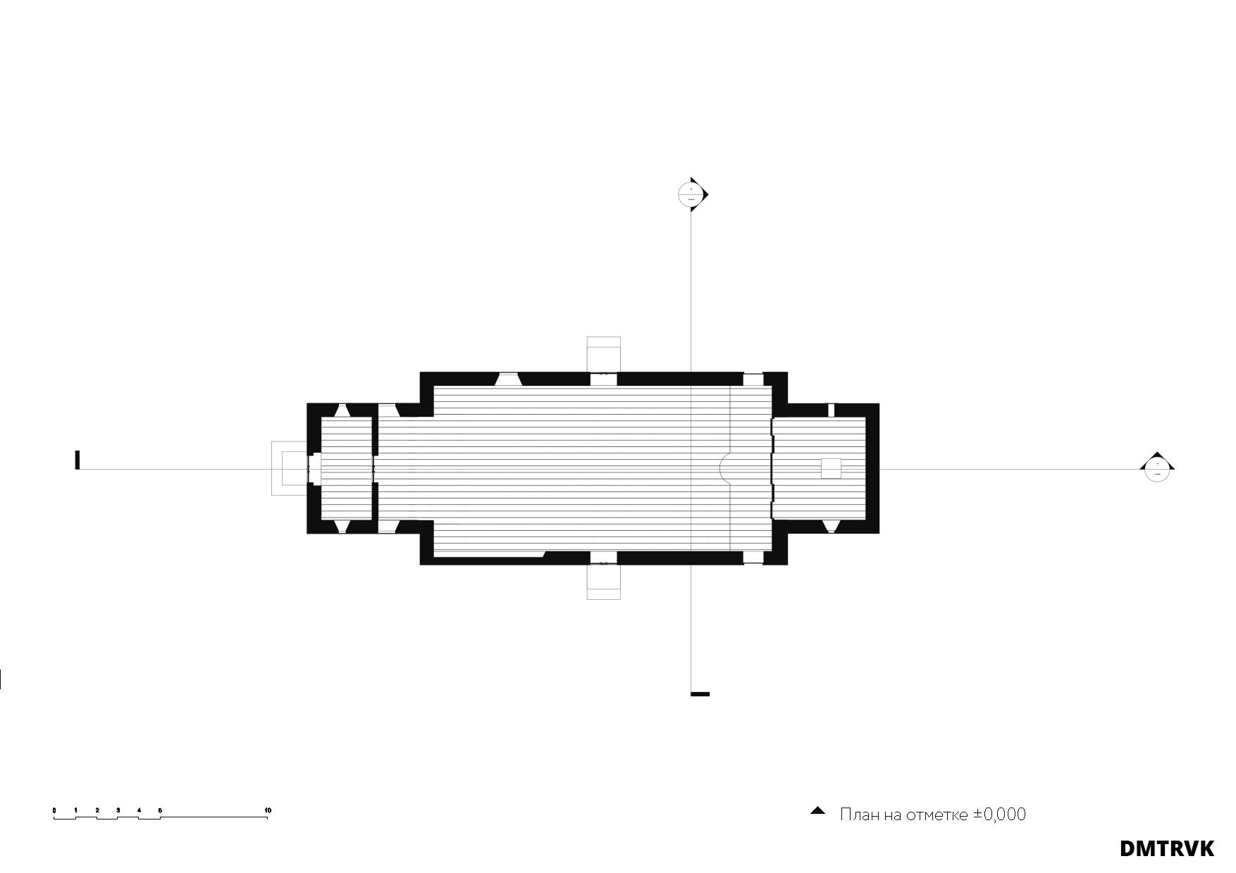 Храм на 250 человек. Схема плана. ©DMTRVK.RU