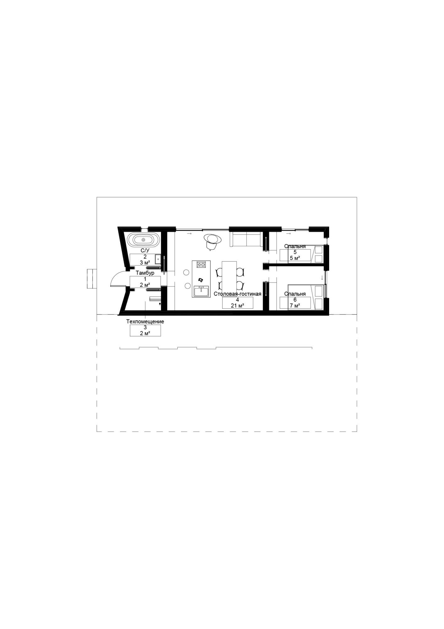 Дом дуплекс. Архитектурная концепция стандартного малоэтажного жилья и жилой застройки. ©DMTRVK