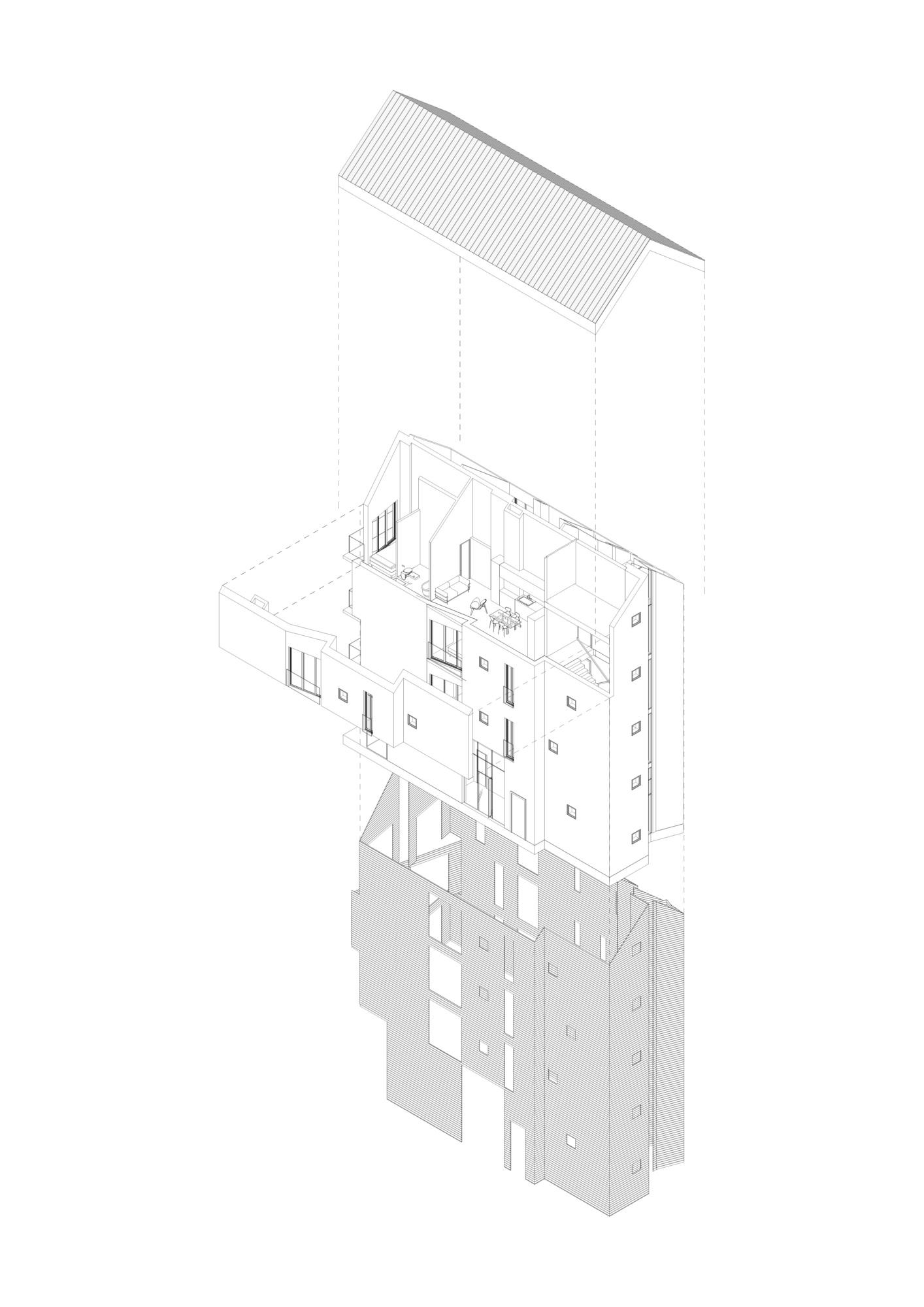 Среднеэтажный дом. Архитектурная концепция стандартного малоэтажного жилья и жилой застройки. ©DMTRVK