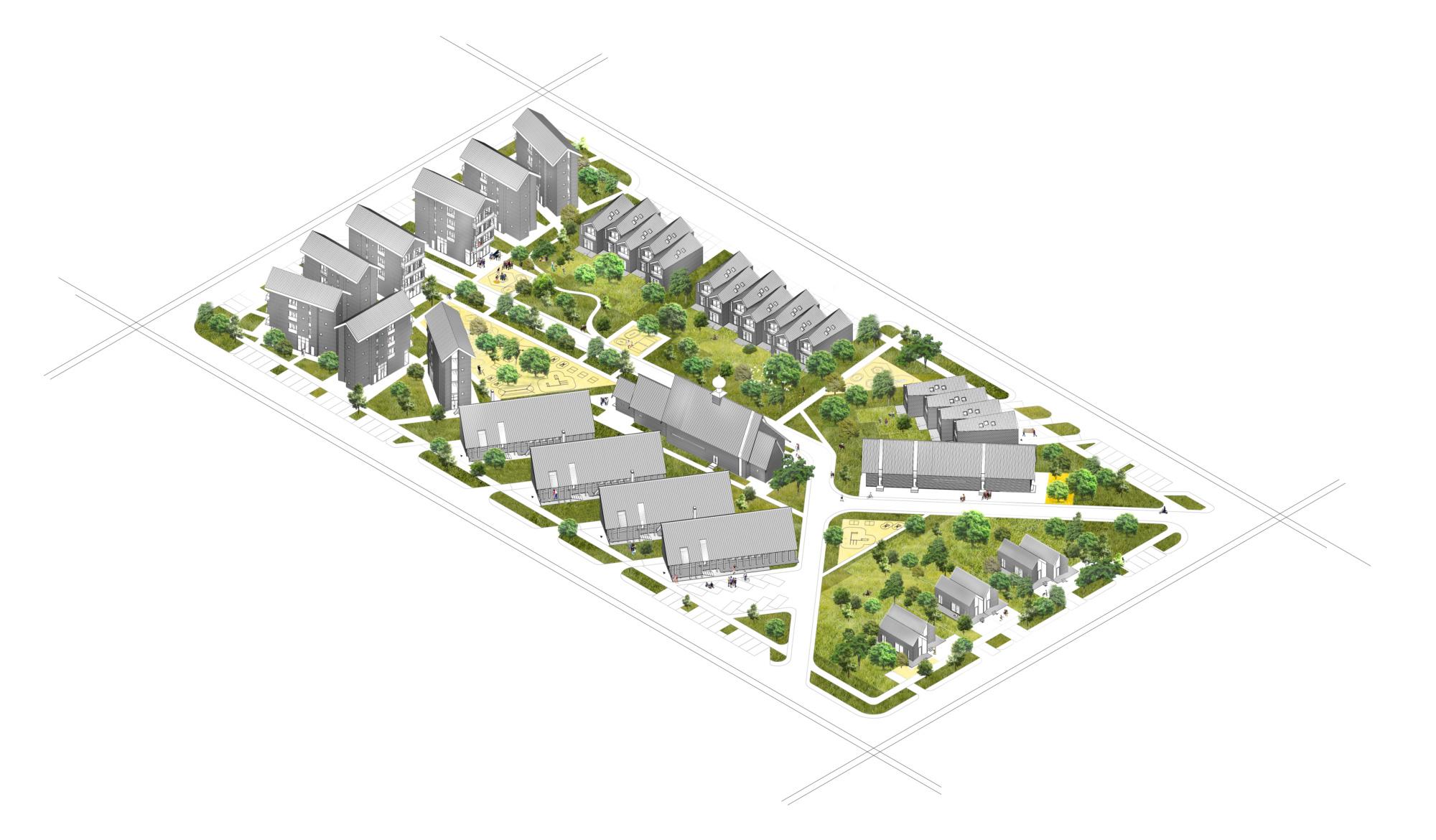 Архитектурная концепция стандартного малоэтажного жилья и жилой застройки. Аксонометрия квартала. ©DMTRVK