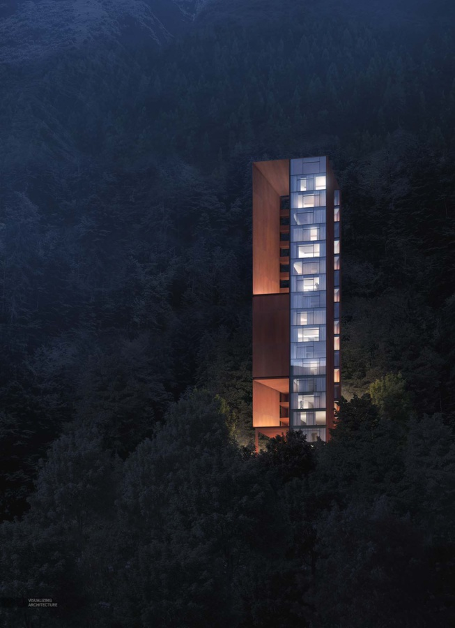 Alex Hogrefe (https://visualizingarchitecture.com/mountain-lodge-dusk-and-night/)