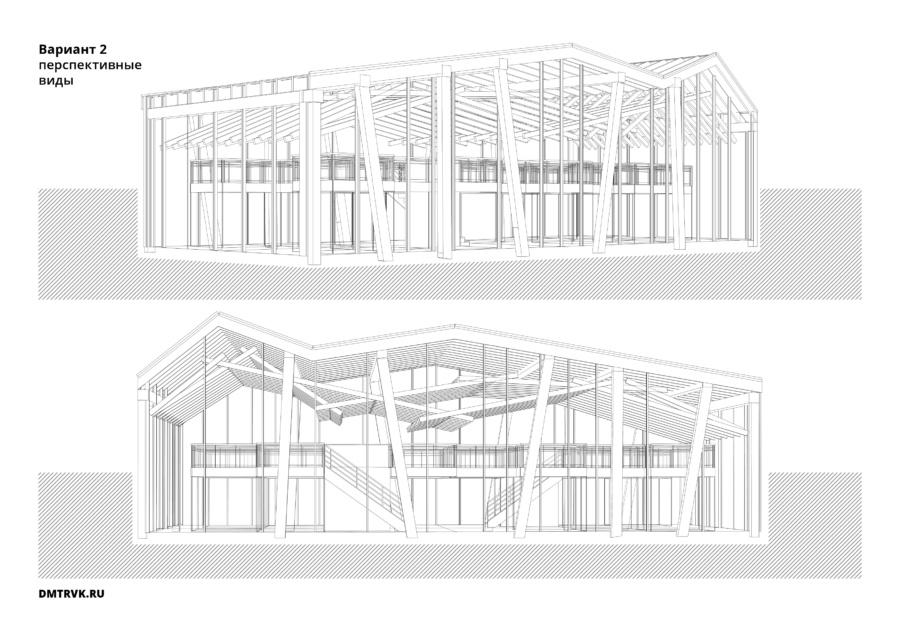 Архитектурная концепция торговых рядов в селе Кубенском. Вариант 2, перспективные виды. ©DMTRVK