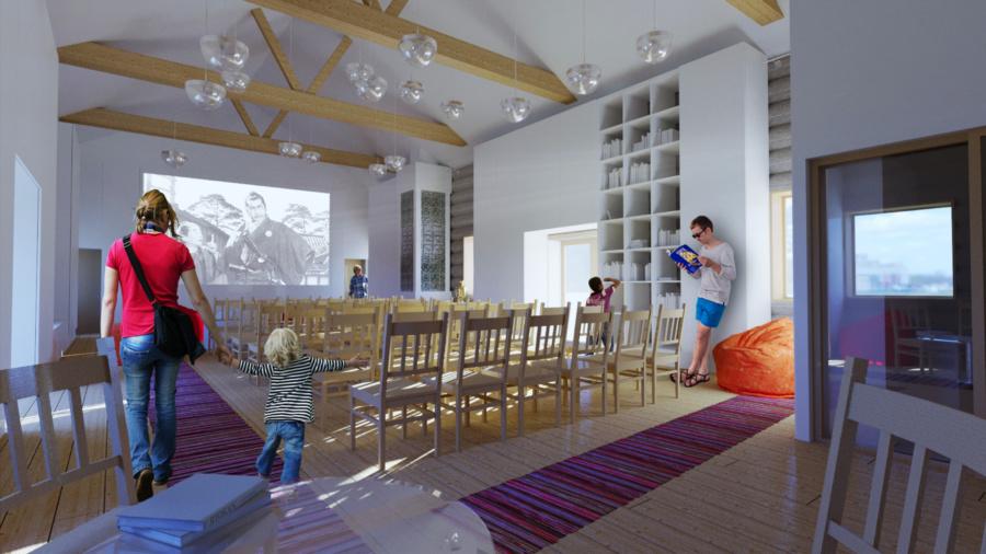 Реконструкция сельского центра в селе Косаричи. Визуализация основного зала. ©DMTRVK