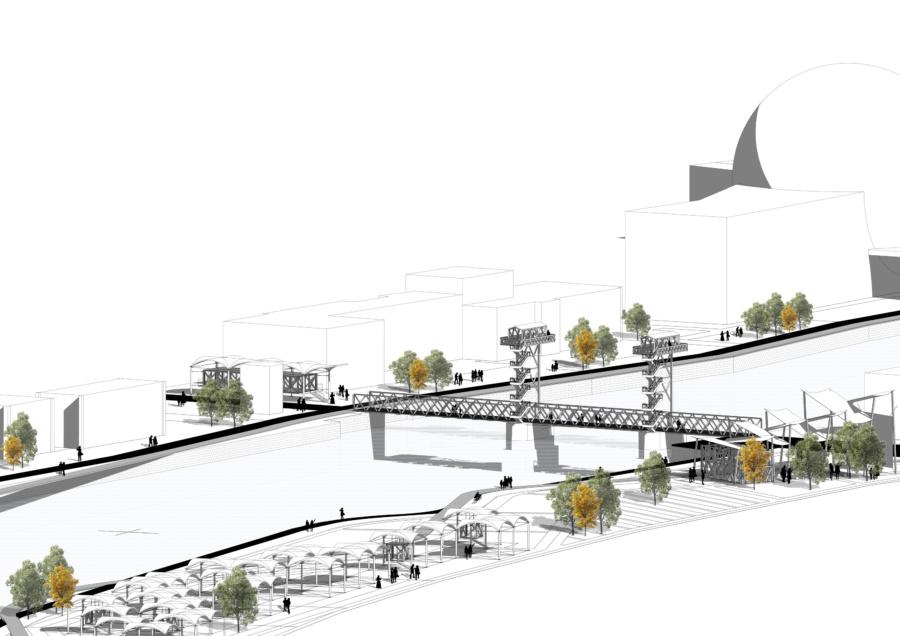 Вид на мост, музей ипроектируемый парк.