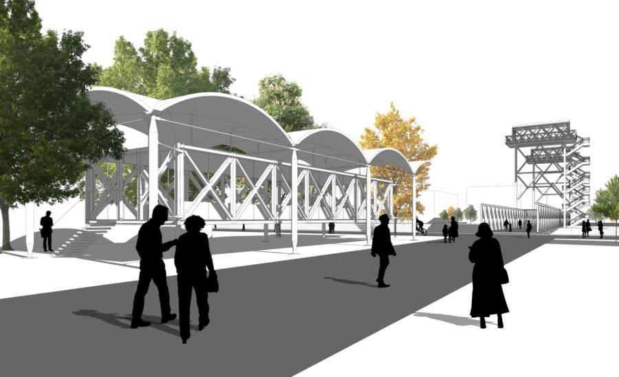 Вид на мост от проектируемого Музея моста.