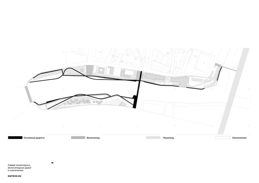 Схема пешеходных, велосипедных дорог и озеленения