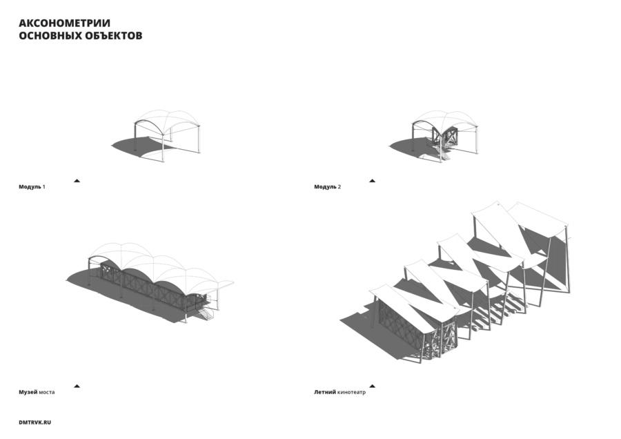 Аксонометрии проектируемых основных объектов набережной.