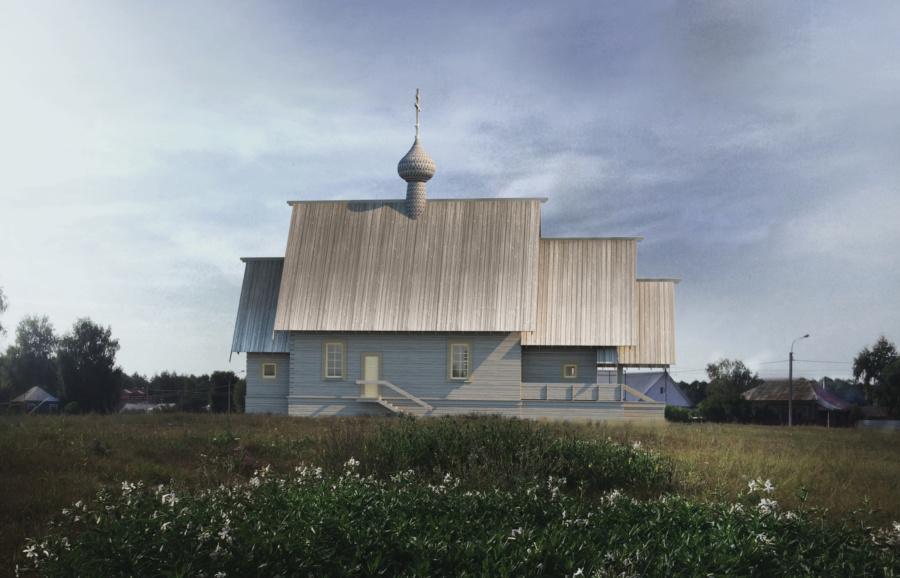 Проект храма свв. Петра и Февронии в с. Ласково. Визуализация. ©DMTRVK.RU