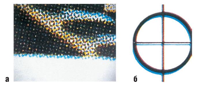 Отклонения совмещения цветов на метке приводки: а растровое изображение б приводочная метка