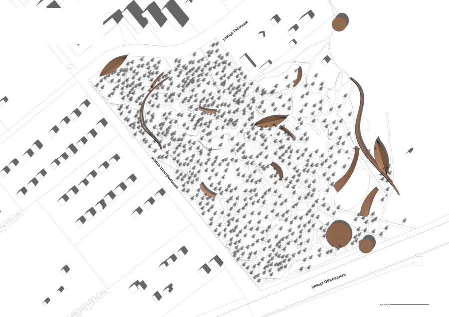 Проект Парка Молодёжи в г. Лянторе, схема генплана. ©DMTRVK.RU