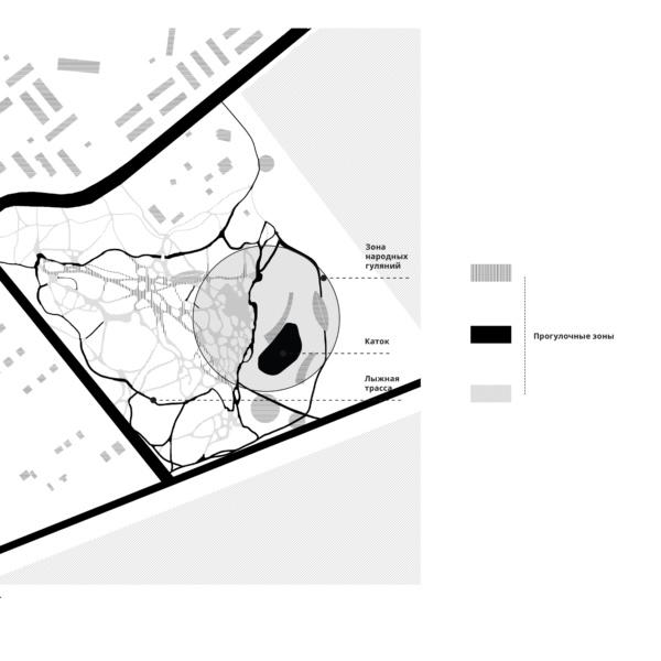 Проект Парка Молодёжи в г. Лянторе, схема зимнего использования. ©DMTRVK.RU