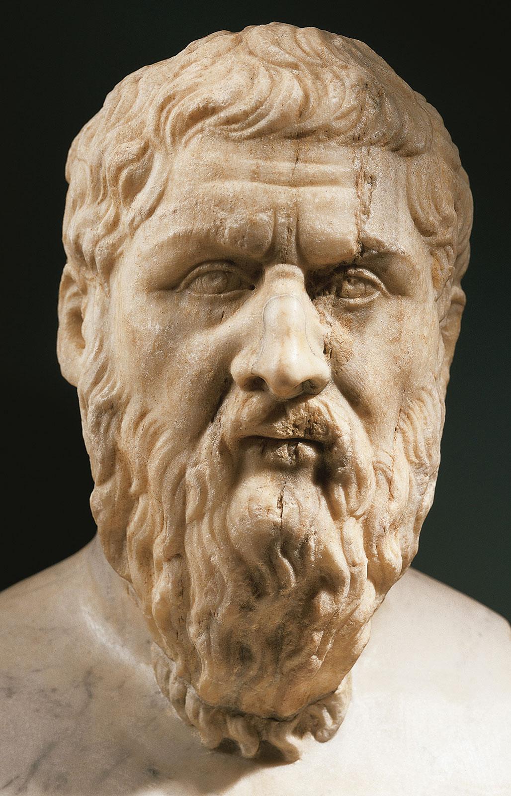 Платон, мраморный бюст, c оригинала 4-го века до нашей эры; находится в Капитолийских музеях в Риме.