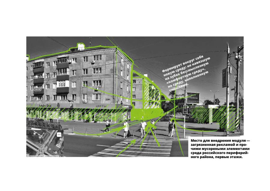 Предполагаемые места размещения на улицах типового города-спутника и проблемы загрязненности среды на уровне 1-х этажей застройки. ©DMTRVK