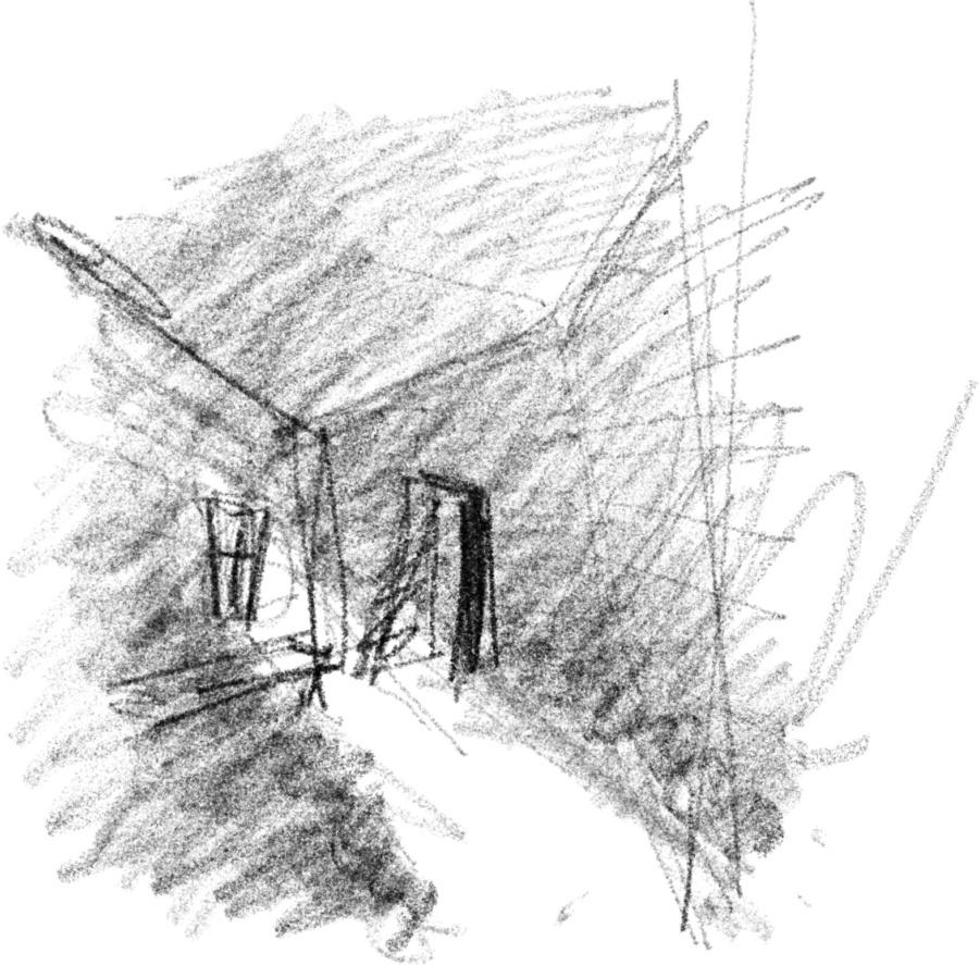 Интерьер — свет из окна в тёмной избе, деформирование интерьерного пространства избы