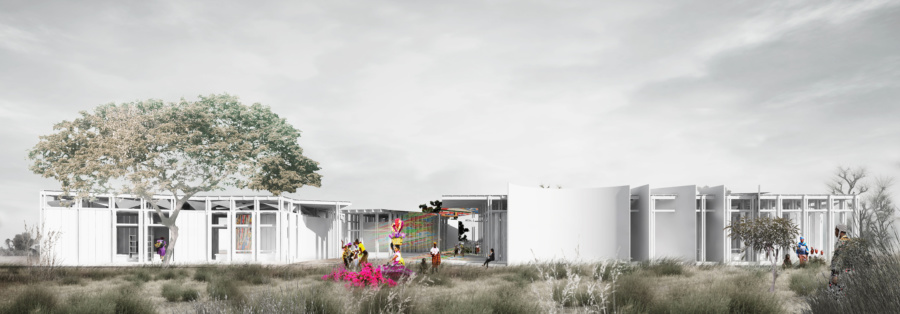 View from the public space. / Women's House in Senegal. Kaira Looro architecture competition.
