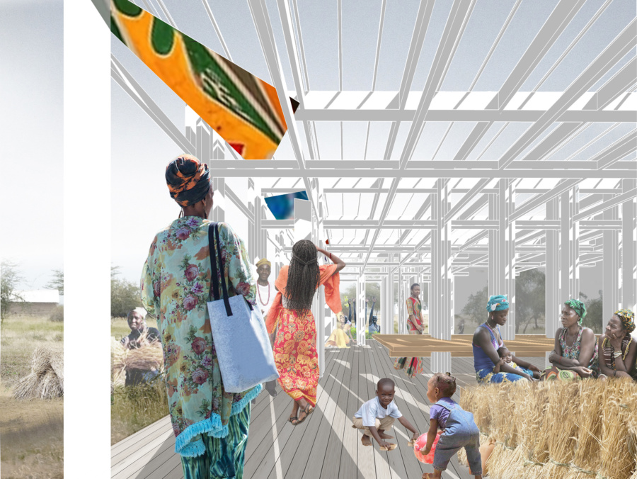 View on the semi-open gallery. / Women's House in Senegal. Kaira Looro architecture competition.