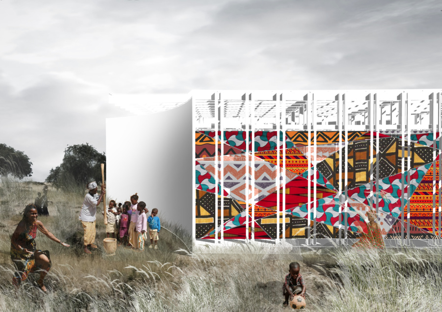 View on the ornamented facade. / Women's House in Senegal. Kaira Looro architecture competition.