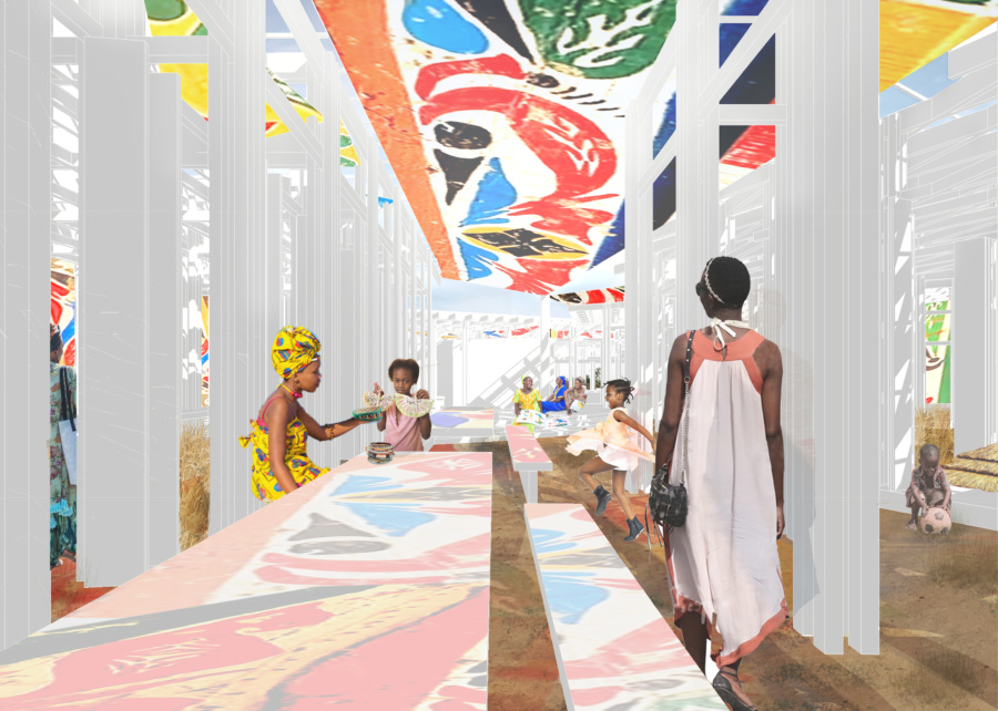 View on the public semi-open communication space. / Women's House in Senegal. Kaira Looro architecture competition.